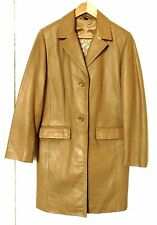 Vintage-Style Womens Leather Coat by Great Outdoors:Light Tan:Size 38:Excellent