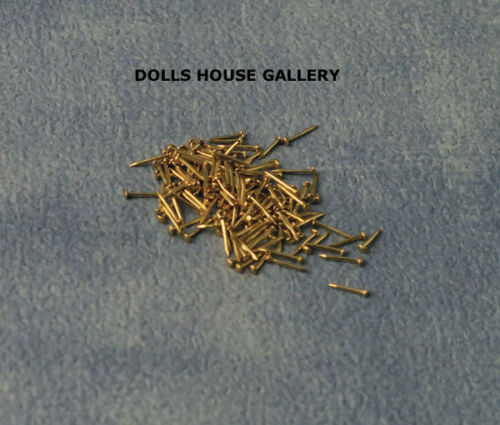 Dolls House Miniatures 1.12 Scale DIY Brass Nails 6mm 100 Pack