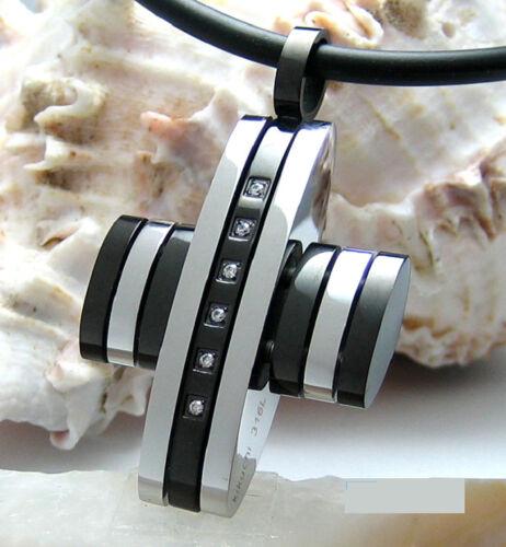 Kikuchi Herren Halskette Edelstahl Kreuz Anhänger silber schwarz Linie Strass