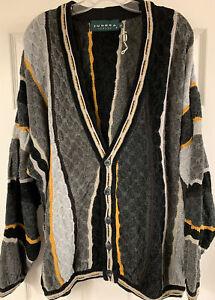 Vintage-Tundra-Canada-Strickjacke-Knopf-Pulli-Texturiert-COOGI-Style-Herren-XL-NEU