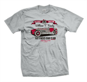 T-Shirt-Fat-Faces-Hot-Rod-Rockabilly-Kustom-Flathead-V8-US-Rat-MOPAR-Car-grau