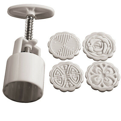 Moon Cake Mooncake Decoration Mold Mould Flowers Round 4 Stamps DIY