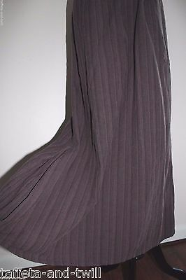 Flax Skirt Lagenlook 100% Cotton L 12 14 Boho Long Modest Textured Stripe Pocket