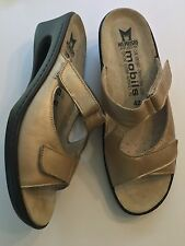 Mephisto Women's Size 11 Gold Slip On Sandals Leather Air Relax Velcro EUC