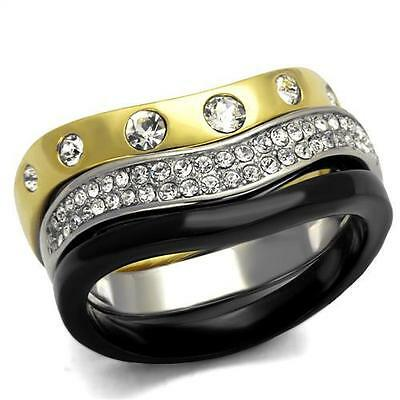 Silver Gold Black Rings Stainless Steel Top Grade Crystal 3 Pc Set Ion Plated