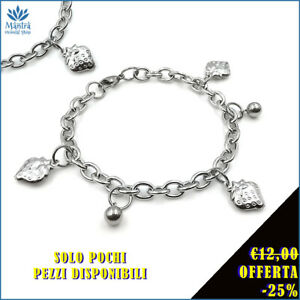 Bracciale da donna braccialetto con ciondolo fragola catena maglia in acciaio