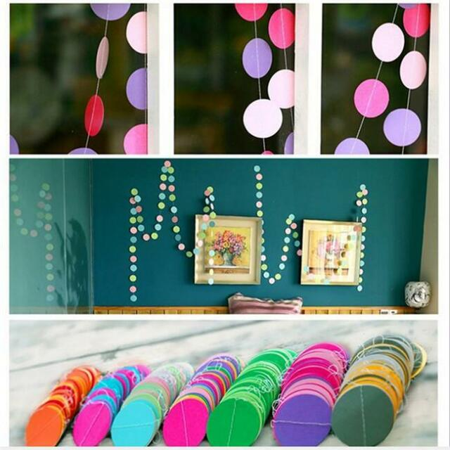 Rainbow Circle Round Paper Garlands Wedding Birthday Party Banner Ornament QK