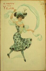 Beautiful-Woman-Embossed-Color-Litho-1903-New-Year-Postcard