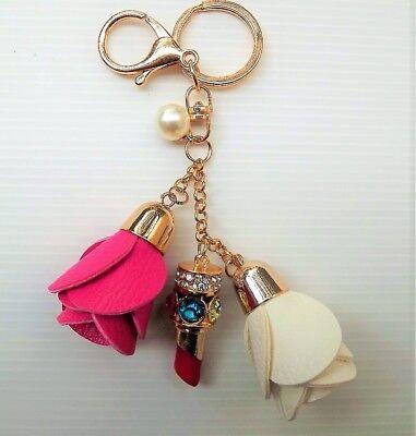 Porte Clé 2 Roses Blanche & Rose Rouge à Lèvre Bijoux De Sac Rétro Voiture Neuf Hoge Standaard In Kwaliteit En HygiëNe