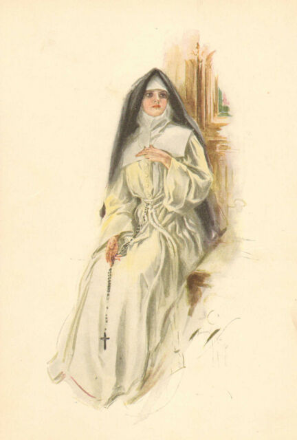 Harrison Fisher, Pretty Lady, Nun, Catholic, White Habit, 1907 Antique Art Print