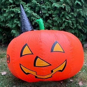 """Vintage A&W Promo Inflatable Halloween Pumpkin w Witch Hat  41""""x 36"""""""