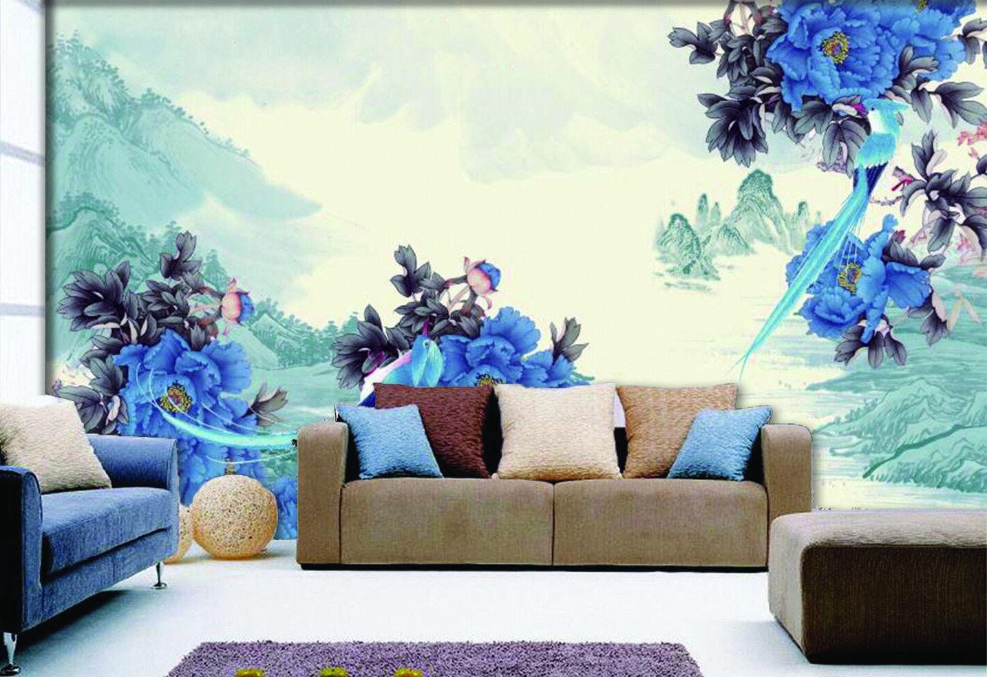 3D bluee Peony Hills 70 Wall Paper Murals Wall Print Wall Wallpaper Mural AU Kyra
