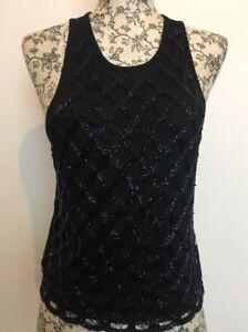 28cb878ffa84b Image is loading Topshop-Womens-Embellished-Sequin-Vest-Top-Black-Size-