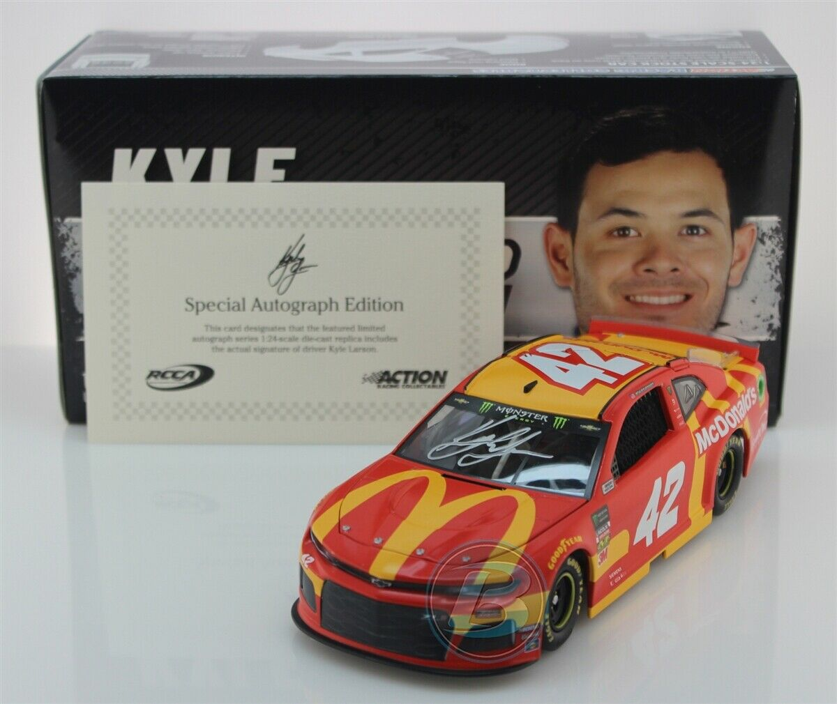 KYLE LARSON  42 2019 AUTOGRAPHED McDONALD'S 1 24 SCALE IN STOCK FREE SHIPPING