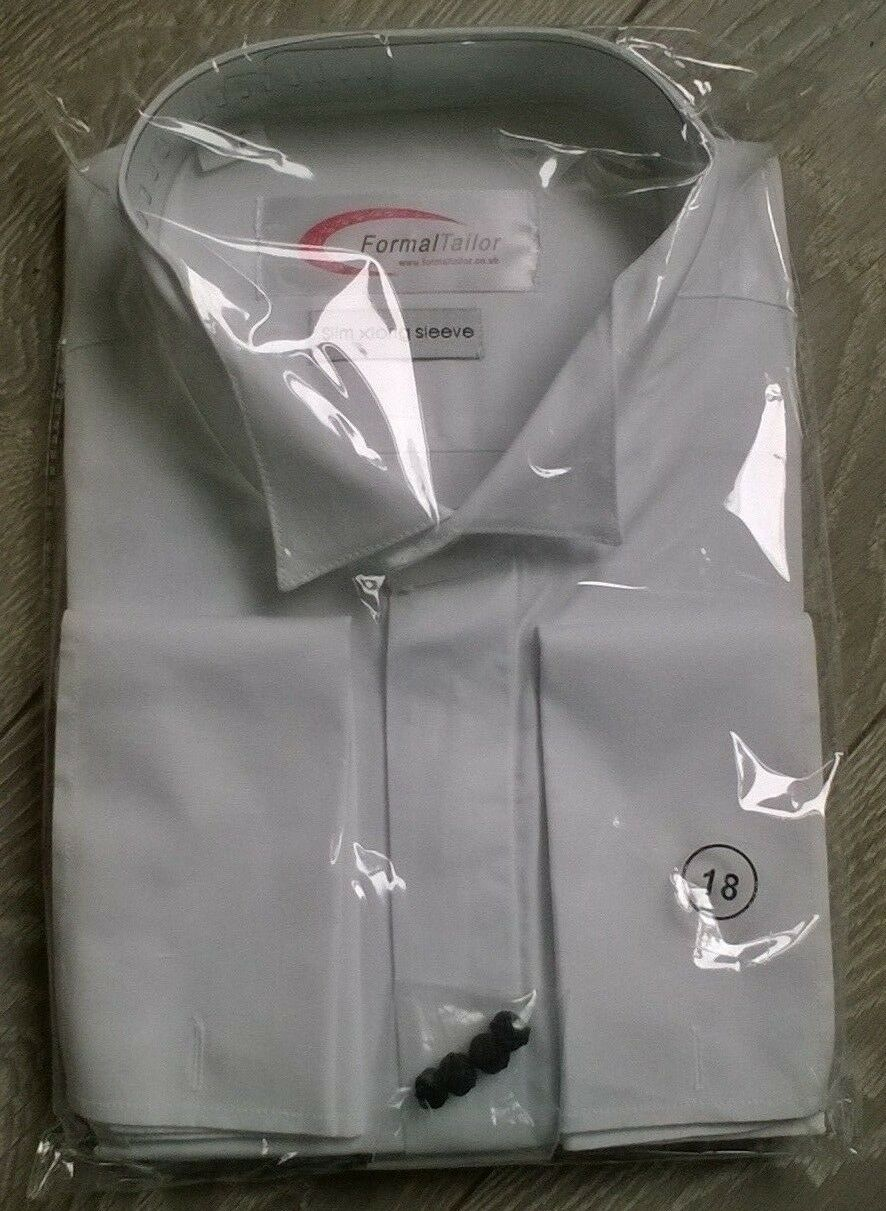 White wing winged tip collar shirt Wedding formal Tailored NEW 18.5