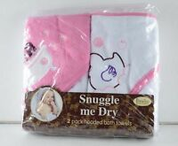 Snuggle Me Dry Baby Infant Hooded Bath Towels 2 Pack 30x28 In Pink White Girl
