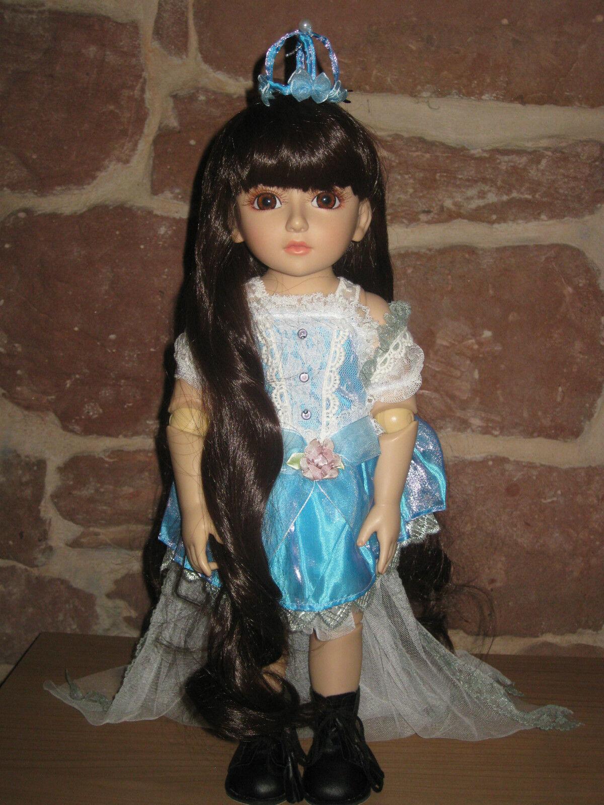 BAMBOLA, corpo duro, giunto BAMBOLA, PIANTANA BAMBOLA, 46cm, lunghi capelli castani, 2627