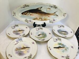 Antique-L-S-and-S-AUSTRIA-Porcelain-Fish-Platter-Set-11-Plates-22-in-Platter