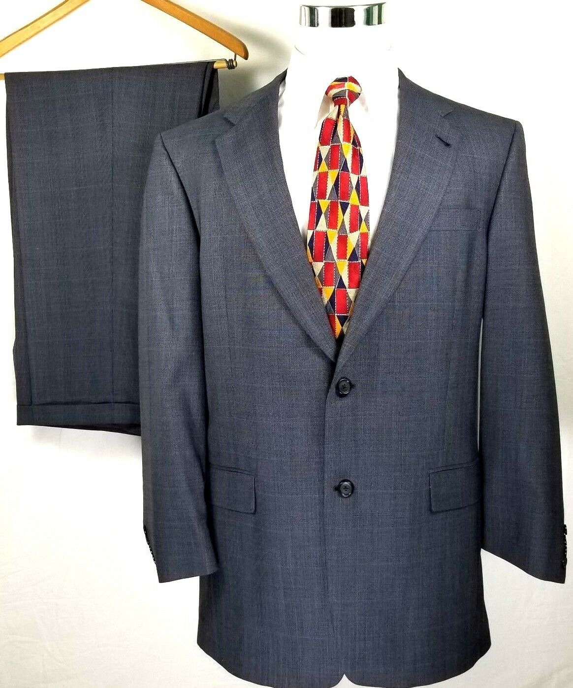 Hart Schaffner Marx Mens Suit Size 42 Long 38 x 29 Steel bluee Windowpane Wool