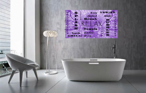 Bathroom Words Purple Quote on CANVAS WALL ART Picture Print