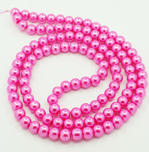 140 Glass Beads 6mm Faux Hot Pink Pearl Strand BD375