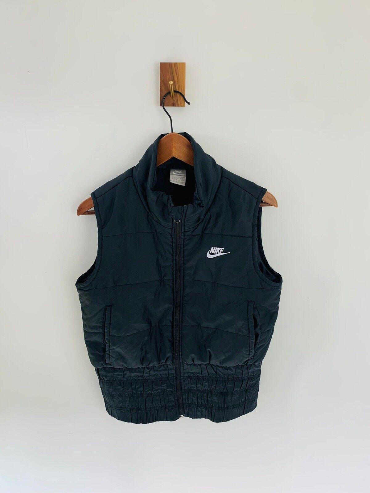 Nike Sportswear Y2k Black Embroidered Swoosh Full Zip Gilet Womens Size S
