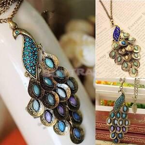 Bronce-Vintage-Peacock-esmalte-rhinestone-colgante-cadena-larga-collarES