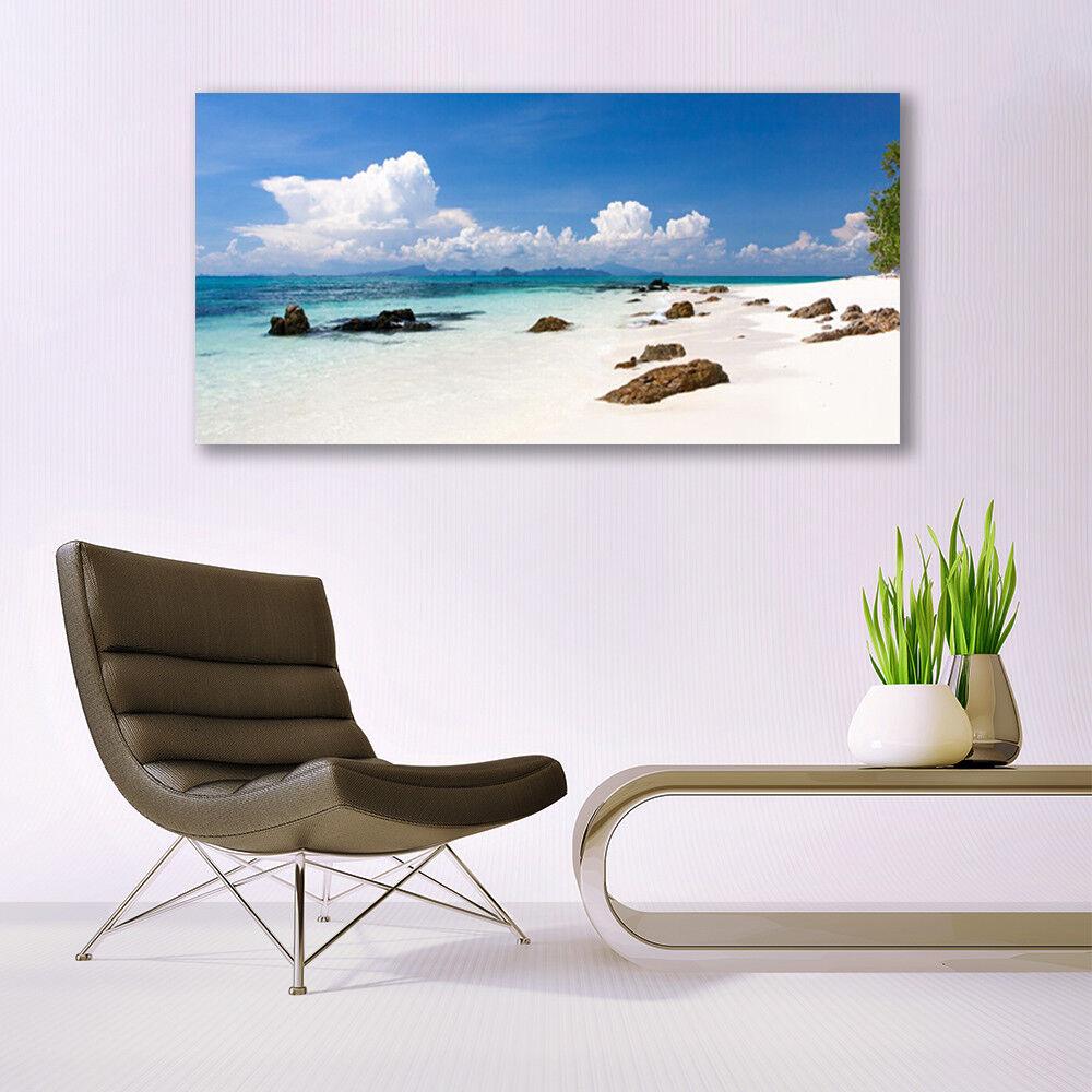Murales vidrio cuadros de cristal presión sobre vidrio Murales 140x70 playa Piedras paisaje d9870f