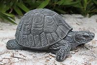 Steinfigur Schildkröte Schiefergrau Steinguss Gartenfigur Gartdendeko Dekofigur