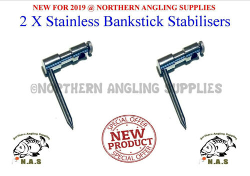 2 x Stainless Steel Single Leg Bank stick Stabilizer Deluxe Carp Fishing Tackle