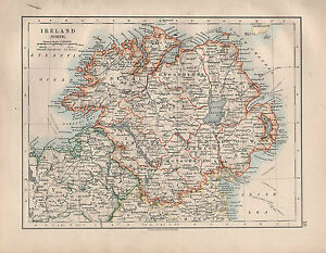 Donegal On Map Of Ireland.1914 Map Ireland North Donegal Tyrone Down Londonderry Ebay