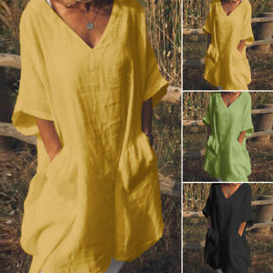 Women-Oversize-Batwing-Long-Shirt-Dress-V-Neck-Summer-Sundress-Mini-Dress-Plus