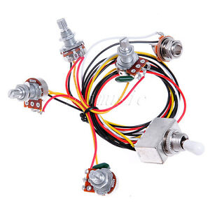 wiring harness 3way toggle switch jack 500k pot for gibson guitar replacement ebay. Black Bedroom Furniture Sets. Home Design Ideas