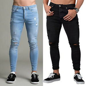 Men-Stretch-Skinny-Jeans-Ripped-Denim-Destroyed-Pants-Summer-Slim-Biker-Trousers
