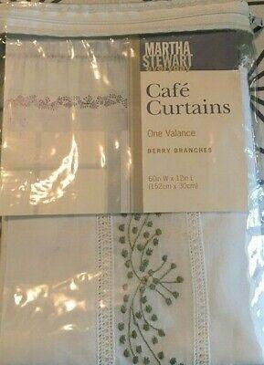 Nwt Martha Stewart Berry Branches Cafe Curtain Valance 60 X 12 Green Ebay