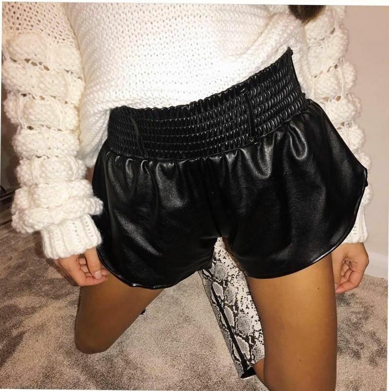 PU Leder Shorts Damen Elastischer Hohe Taille Weites Bein Herbst Casual Kleidung