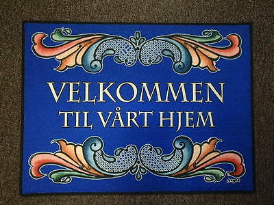 Norwegian Rosemaling Velkommen Welcome to our Home Door Mat Rug #236