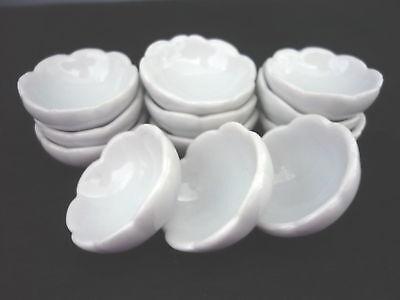 10 Dollhouse Miniature White Ceramic Bowls Doll Mini Dish Food Bowl Kitchen