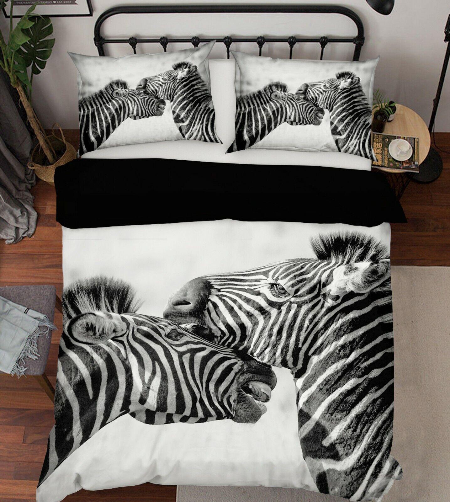 3D Zebra Grassland P23 Animal Bed PilFaiblecases Quilt Duvet Cover Set Queen Zoe
