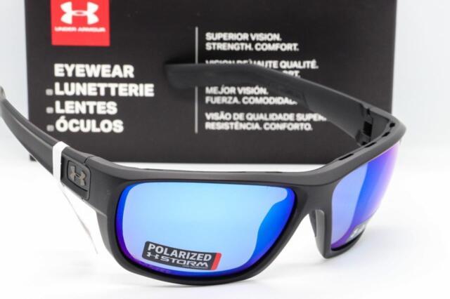 3f98d26328 Under Armour Launch Sunglasses ANSI Satin Black Blue Storm Mirrored  Polarized