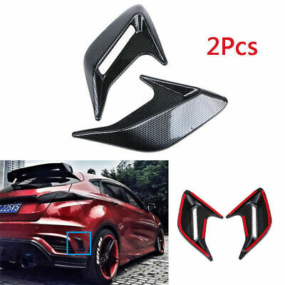 Black Five Season 1 Pair Universal Simulation Carbon Fiber Decorative Car SUV Truck Bonnet Hood Air Flow Intake Turbo Side Vent Cover