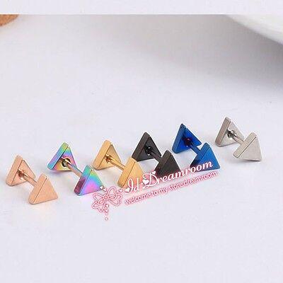 ED099 2PC Titanium steel triangle Stud Earrings Tragus Prevent allergy GIFT