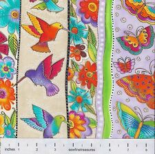Flying Colors II Laurel Burch STRIPES CREAM Butterflies Fabric By the FQ 1/4 YD