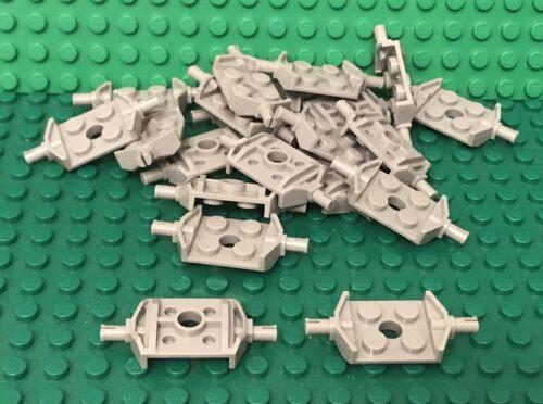 Lego 24 Light Bluish Gray Plate 2x2 Wide Wheel Attachments Non-Reinforced Bottom