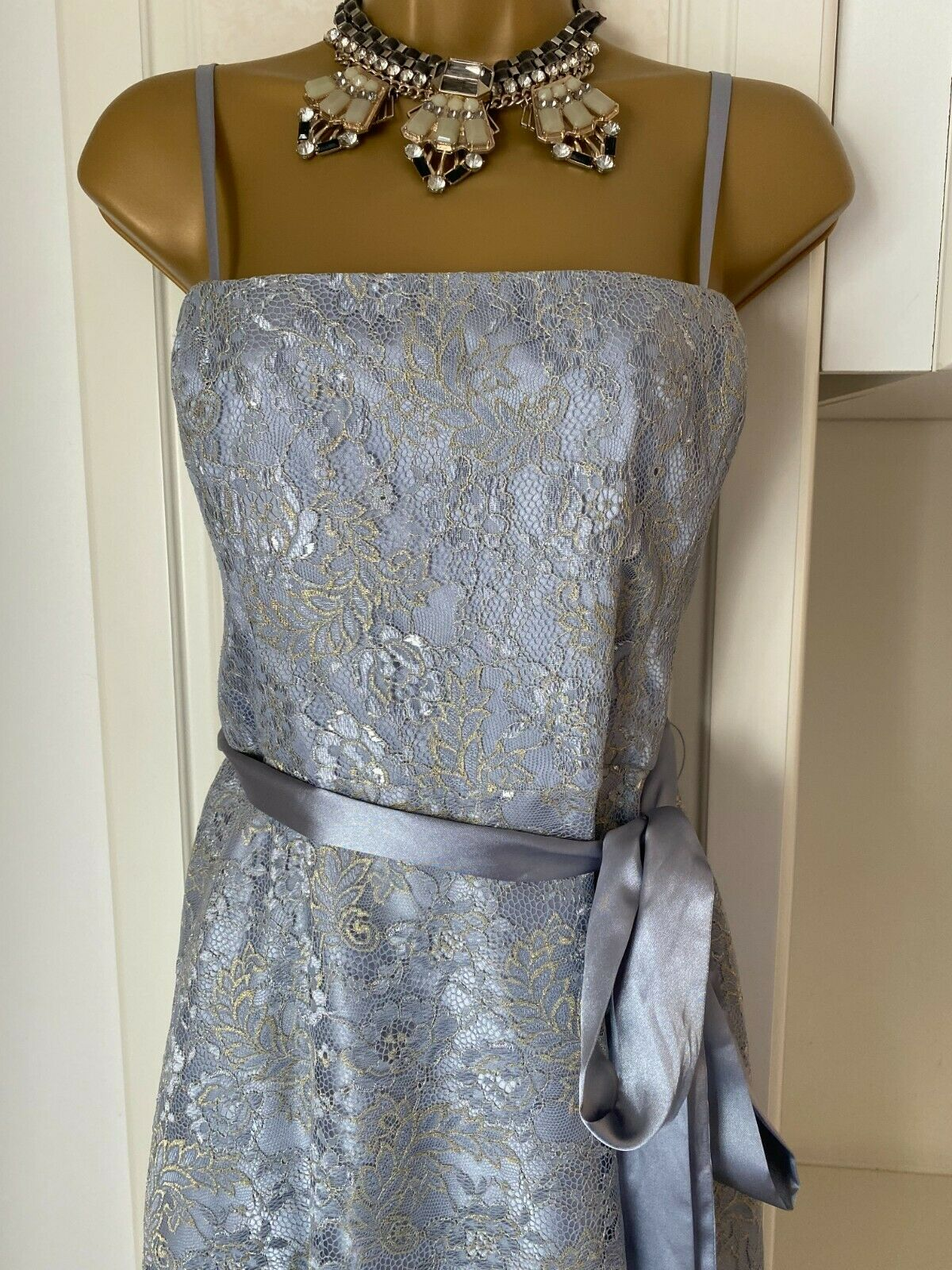Laura Ashley Size UK 14-16(16) Nwt Of Grey/Gold Lined Lace Dress Bust 38