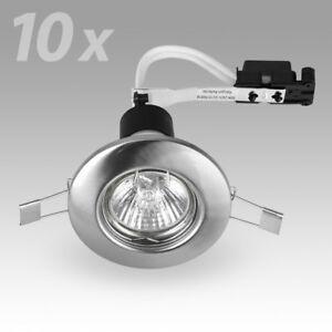 10-x-Brushed-Chrome-GU10-Recessed-Ceiling-Spot-Light-Downlights-Downlight-Lights