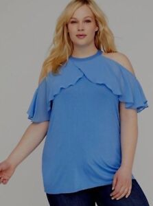 47b75ada8a2b84 Lane Bryant Blue Ruffled Cold Shoulder Halter Style Top 26 28 Fits ...