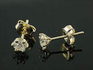 585 Gold Ohrstecker  6,3 mm  mit Zirkonia Steinen  Kelch Ohrstecker   1 Paar