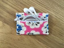 Handmade Earphone Earbud Case - Cath Kidston Electric Pink Provence Rose Fabric