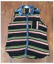 Toska Sleeveless Sheer Striped Blouse Button Down Denim Trim Medium M